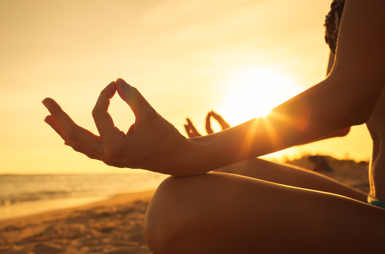 Eczema caused by stress, meditation at sunset on beach, eczema cream, Hope's Relief