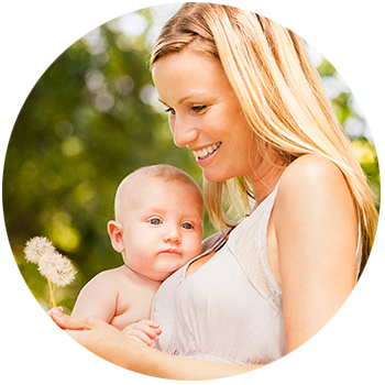 Hope's Relief blonde woman holding baby and smiling Eczema Psoriasis Cream